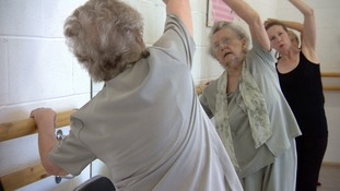 87 year former ballet dancer Ceclia Lace enjoying Silver Swans class