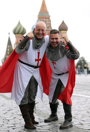 England fans dressed as knights ahead of the World Cup semi-final