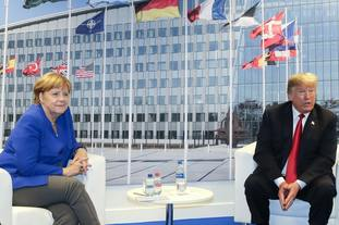 German Chancellor Angela Merkel and US President Donald Trump in Brussels