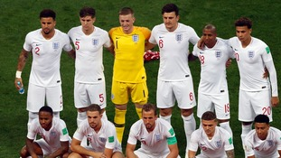 The England team before the match.