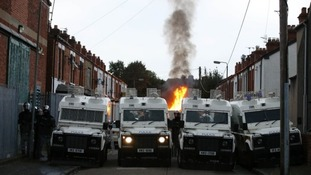 There's a heavy police presence in east Belfast.