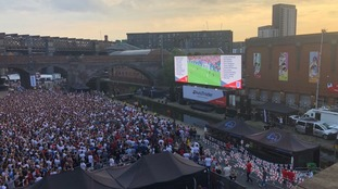Fans are glued to the screen in Castlefield Manchester