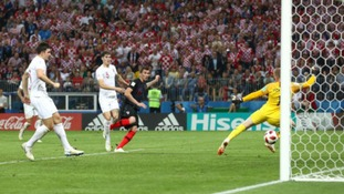 Croatia's Mario Mandzukic scores his side's second goal of the game during extra time.