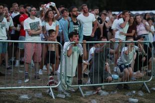 Fans watching Croatia v England