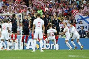 England's Kieran Trippier scores his side's goal at the Luzhniki Stadium (Owen Humphreys/PA)