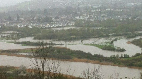 Usk valley in flood this morning