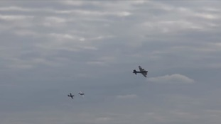 The planes in the sky above Duxford just before the collision