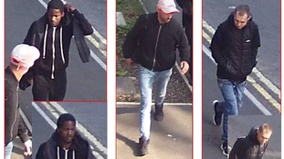 Police have released CCTV images of three men after liquid was thrown at a man in Leicester