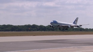 US president Donald Trump arrives at Stansted Airport