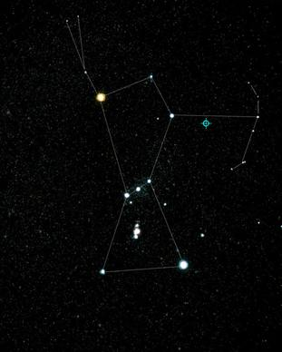 Position of blazar TXS 0506+056 near the constellation of Orion.