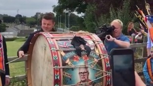 Brian O'Driscoll plays Lambeg drum at Orange parade