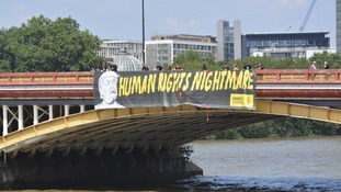 This banner in central London dubbed President Trump a 'human rights nightmare'.