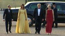 The US President arrives in Oxfordshire amid protests