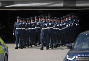The honour guard gets into position