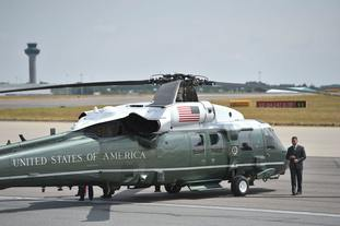 A US Marine Corps helicopter on the tarmac ahead of Mr Trump's arrival at Stansted
