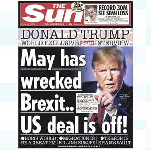 In an interview with The Sun newspaper the US president expressed his dislike of the Brexit plan.