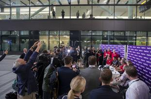 Divers from the rescue mission, who helped to save 12 schoolboys and their football coach from a flooded cave in Thailand, speak to media after arriving back at London's Heathrow Airport (Steve Parsons/PA)
