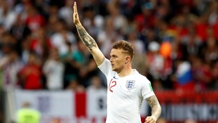 Kieran Trippier celebrates after scoring during the World Cup.