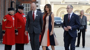 The First Lady was greeted by Chelsea pensioners and the prime minister's husband Philip May.