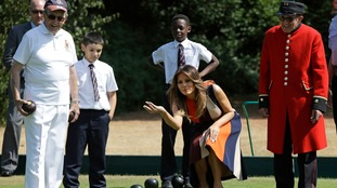 Melania Trump tried her hand at bowls.