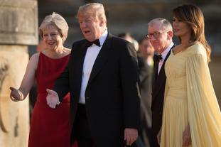US President Donald Trump and his wife Melania are welcomed by Prime Minister Theresa May and her husband Philip May at Blenheim Palace, Oxfordshire, where Mrs May will host a dinner as part of his visit to the UK.