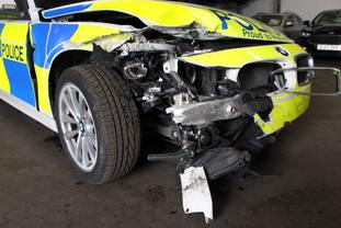The written off Northumbria Police BMW