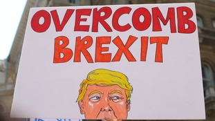 A sign from the Stop Trump' Women's March protest in London.