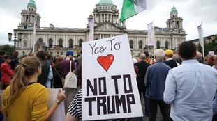 Belfast protest against Donald Trump visit to UK