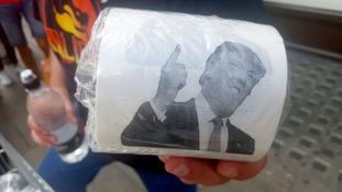 James O'Brien sells Donald Trump toilet roll.