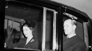 The Queen with the Duke of Edinburgh return to the UK after the sudden death of her father.
