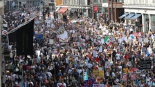 Tens of thousands of protesters have descended on central London.
