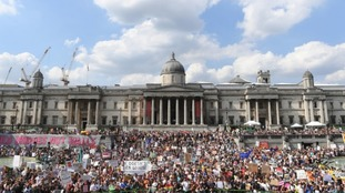 Trafalgar Square appeared to have reached full capacity.
