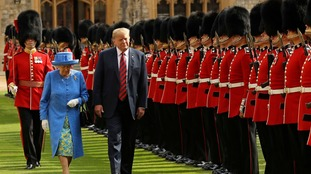Queen Elizabeth II entertains US President Donald Trump at Windsor Castle.