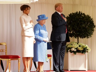 It was a peaceful afternoon for the President while in London, a reported 100,000 people protested his trip.