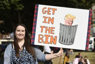 One of the protestors in Galsgow's George Square