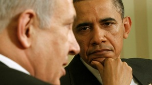 Barack Obama with Benjamin Netanyahu in Washington in 2011