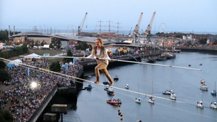 Daredevil high wire walkers at Sunderland Tall Ships