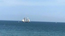 Danish barque, Loa, heads out from Sunderland to start the Tall Ships Races 2018