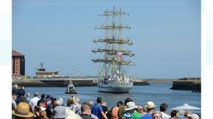 Crowds farewell the Tall Ships fleet.
