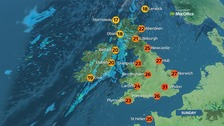 Sunny in England and Wales, cloudy in much of Scotland and NI