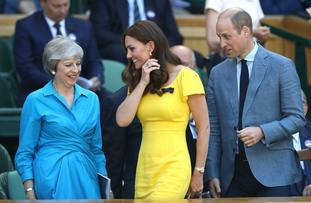 Prime Minister Theresa May was sat next to the Duke and Duchess of Cambridge.