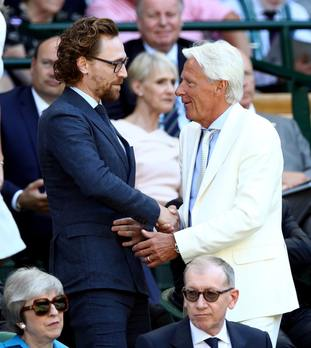 Tom Hiddleston, left, and Bjorn Borg were also looking to enjoy some top-class tennis.