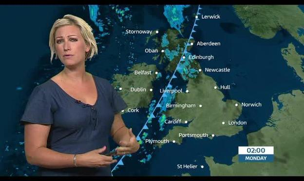 uk weather forecast  a cold front will sink southeast