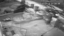 CCTV shows device thrown at Adams' home from moving car
