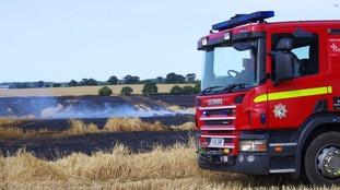 Dozens of field fires sparked by tinder dry heatwave