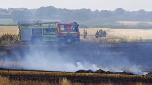 A field fire at Corpusty in Norfolk on Sunday 15 July 2018.