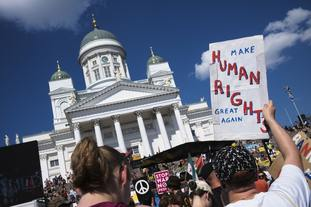 A protest march in Helsinki