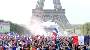 A huge screening of the World Cup final played at the Eiffel Tower.