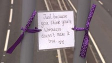 Messages left on bridge to discourage people from taking their own lives