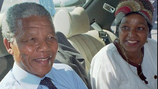 Nelson Mandela the day after his release from prison, with his wife Winnie